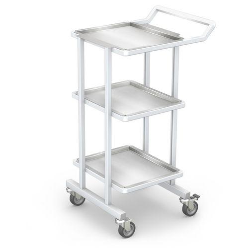 chariot de transport / pour instruments / avec étagère / 3 plateaux