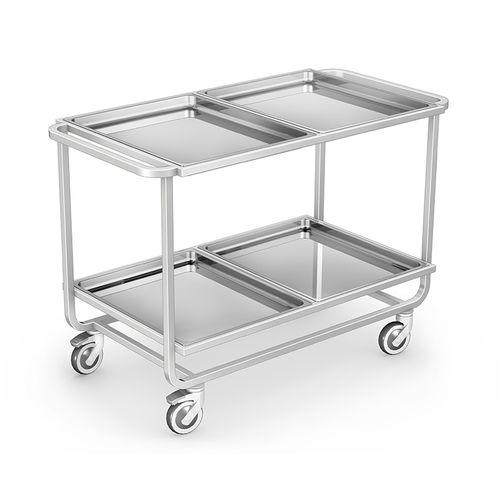 chariot de service / de repas / avec plateau / en acier inoxydable