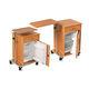 table de chevet sur roulettes / avec compartiment réfrigéré / avec tiroirs / avec table de lit intégrée