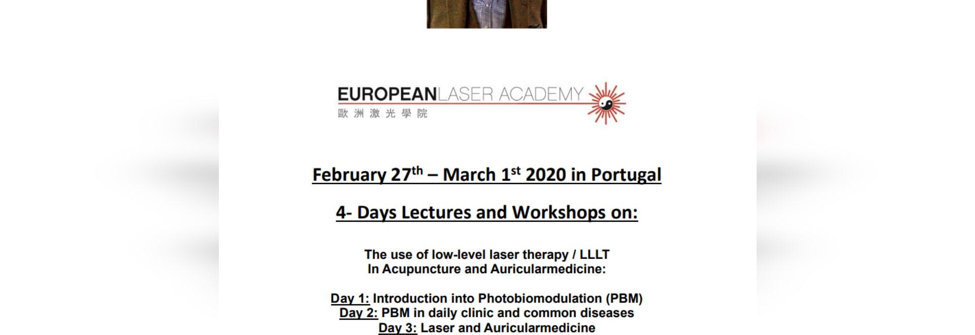 Séminaire sur les lasers en Algarve, Portugal, du 27 février au 1er mars, par le Dr Michael Weber, MD CM, spécialiste des lasers d'acupuncture en Allemagne.