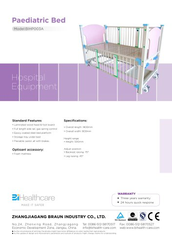 Brochure_Padiatric bed(BIHP003A)_BiHealthcare