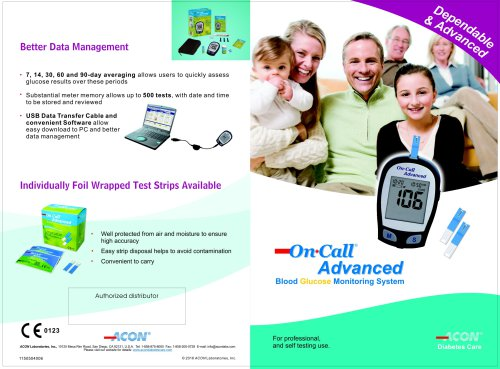 On Call® Advanced Blood Glucose Monitoring System - For professional, and self testing use.