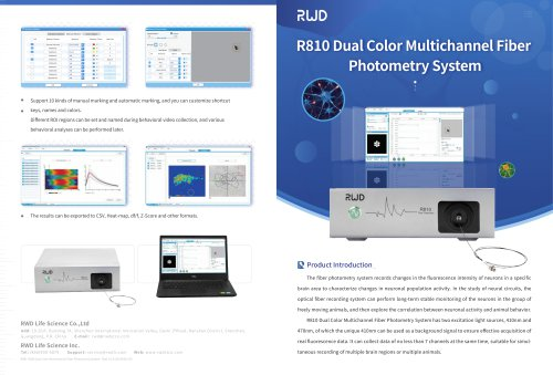 R810 RWD Dual Color Multichannel Fiber Photometry System