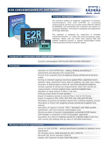 E2R CHECKWEIGHER PC SOFTWARE E2R CHECKWEIGHER PC SOFTWARE