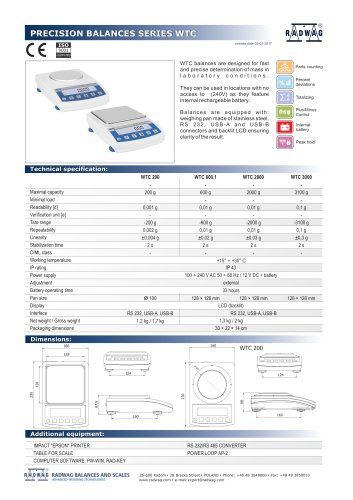 PRECISION BALANCES SERIES WTC