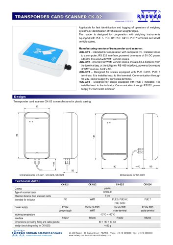 TRANSPONDER CARD SCANNER CK-02