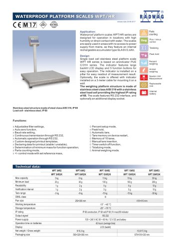 WATERPROOF PLATFORM SCALES WPT/HR