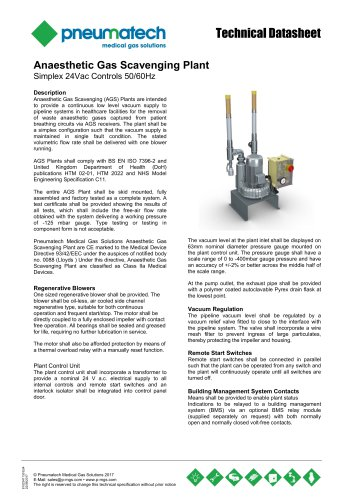 AGSS Anaesthetic Gas Scavenging Systems - Simplex