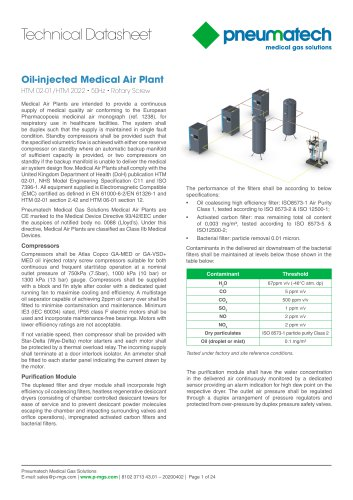Oil-Injected Screw Medical Air Systems 50 Hz