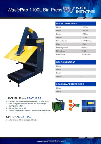 WastePac 1100L Bin Press