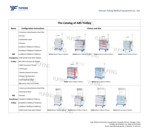 The Catalog of ABS Trolley/Cart-Yufeng Medical