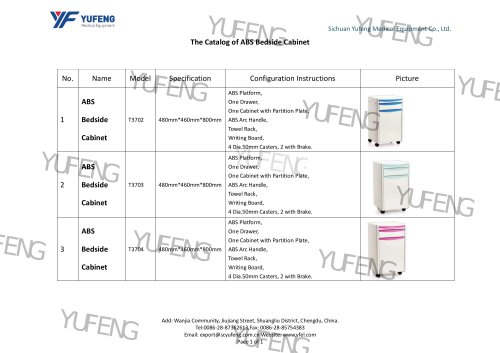 Yufeng Medical Equipment ABS Bedside Cabinet