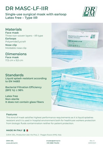 SURGICAL MASKS IIR - RESISTAND TO SPLASHES - ITALIAN MADE