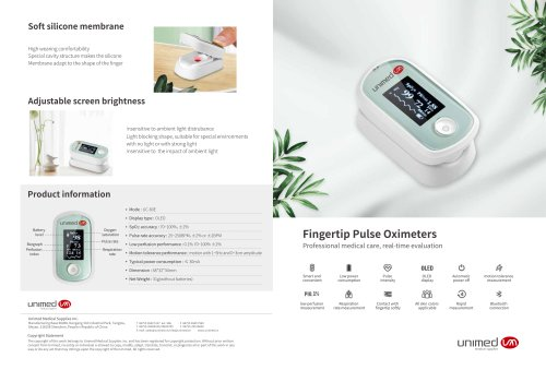 Fingertip Pulse Oximeters UC-60E