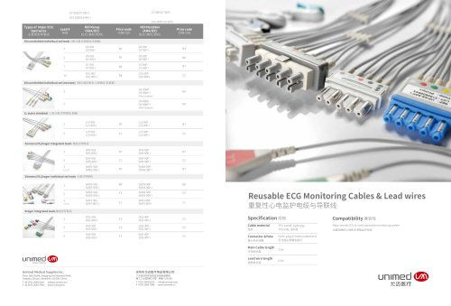 Reusable ECG Monitoring Cables & Lead wires