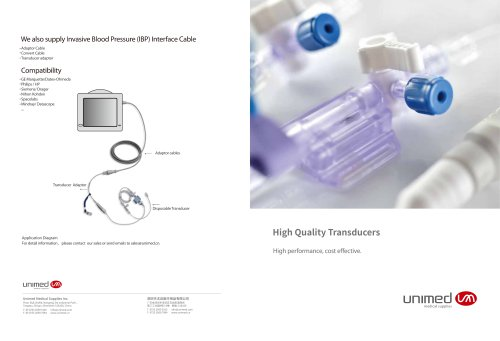 Unimed IBP Interface cable&Transducer