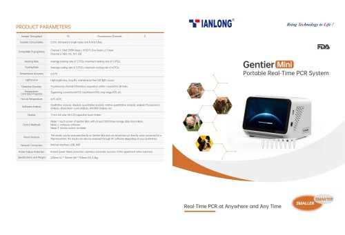 Tianlong's Portable Real-time PCR System-Gentier Mini