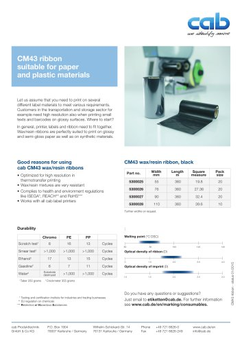 CM43 ribbon suitable for paper and plastic materials