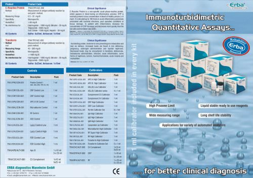 Erba IMMUNOTURBIDIMETRY KITS