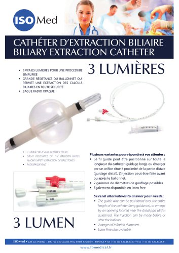 CATHÉTER D'EXTRACTION BILIAIRE BILIARY EXTRACTION CATHETER
