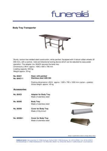 Body Tray T r ansporter 80421