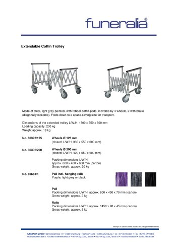 Extendable Coffin Trolley