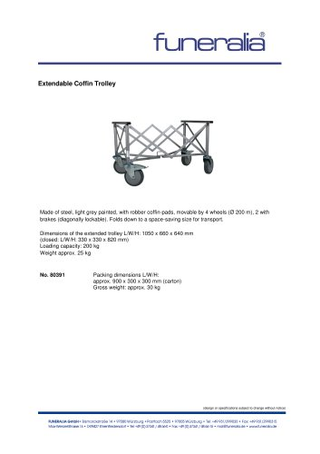 Extendable Coffin Trolley No.80391