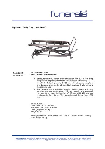 Hydraulic Body Tray Lifter BASIC