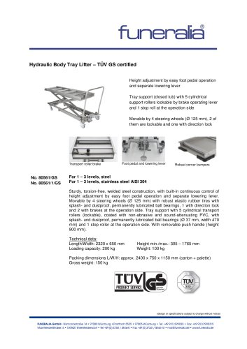 Hydraulic Body Tray Lifter - TÜV GS certified