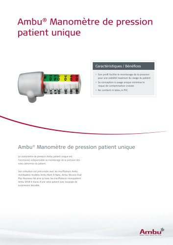Ambu® Manomètre de pression patient unique