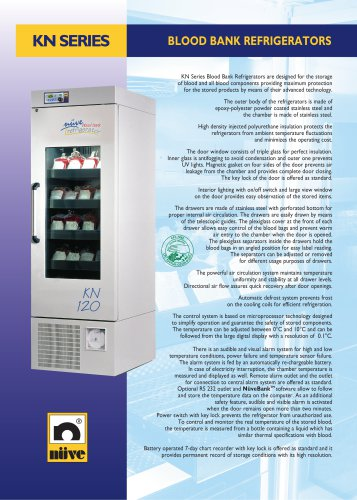 NÜVE KN 72/120/294/504 Blood Bank Refrigerators Brochure