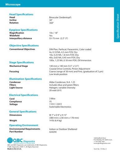 Microscope Specification Sheet
