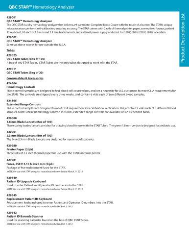 Product Description List: QBC STAR