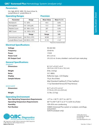 Specification Sheet: QBC Autoread Plus