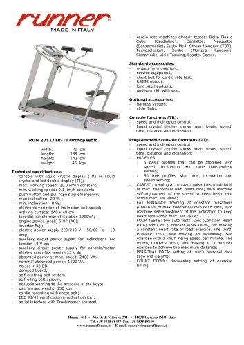 Treadmill RUN2011/TR-TJ Orthopaedic