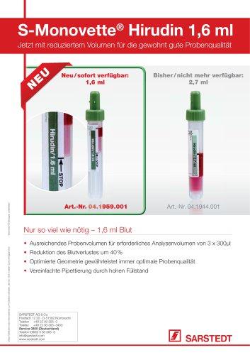 S-Monovette® Hirudin 1.6 ml