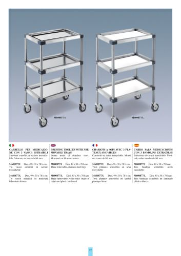 DRESSING TROLLEY WITH 3 REMOVABLE TRAYS