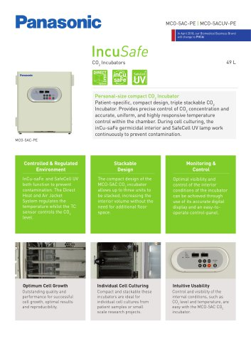 IncuSafe CO2 Incubator MCO-5AC Product Sheet