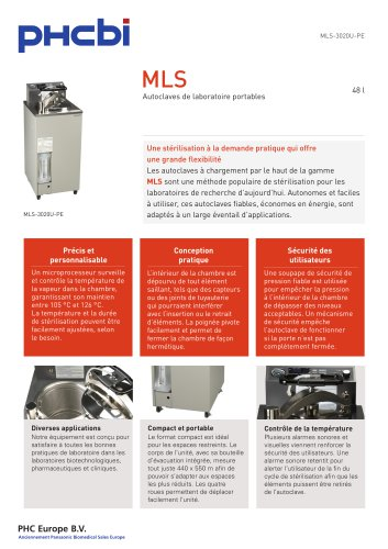 MLS-3020U-PE Autoclave de laboratoire portables