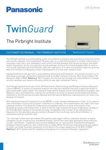 TwinGuard ULT Freezers Customer Testimonial - The Pirbright Institute, UK