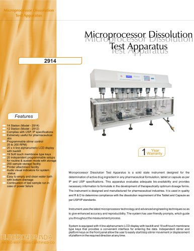Microprocessor Dissolution Test Apparatus 2914