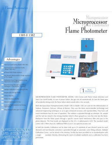 Microprocessor Flame Photometer – 1385 & 1382