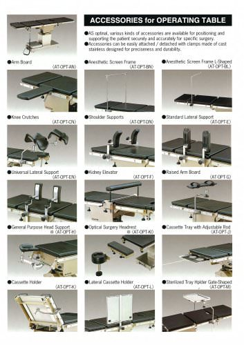 ACCESORIES FOR OPERATING TABLE
