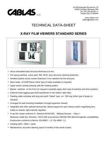 X-RAY FILM VIEWERS STANDARD SERIES