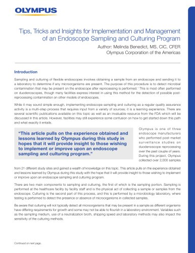 Tips, Tricks and Insights for Implementation and Management of an Endoscope Sampling and Culturing Program