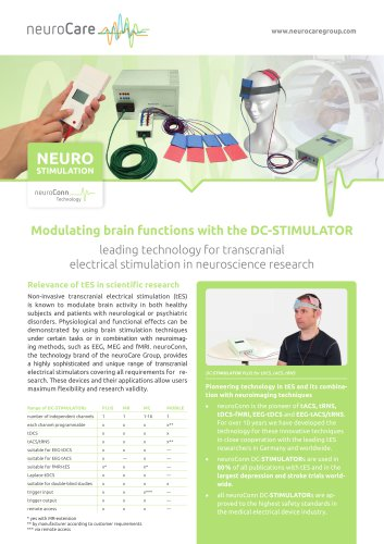 Overview of neuroConn product portfolio for tES in neuroscience research