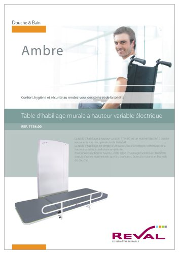 AMBRE - Table d'habillage murale à hauteur variable électrique