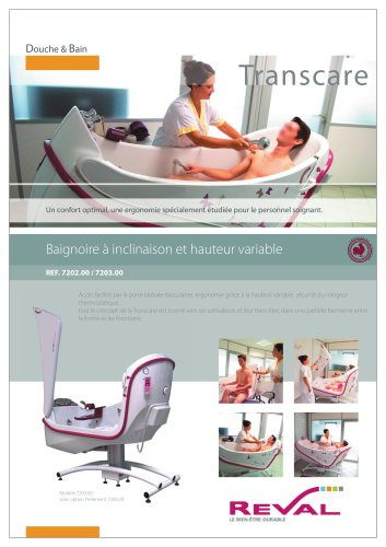 TRANSCARE - Variable height and tilt bathtub