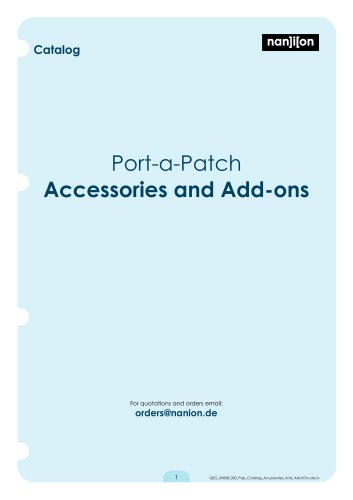 Port-a-Patch Accessories and Add-ons