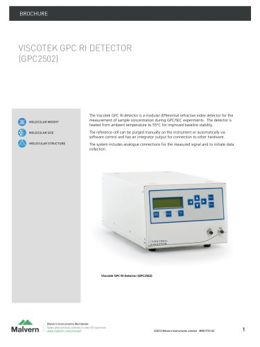 Viscotek GPC RI- High-stability concentration detector, for GPC/SEC chromatography and molecular weight determination